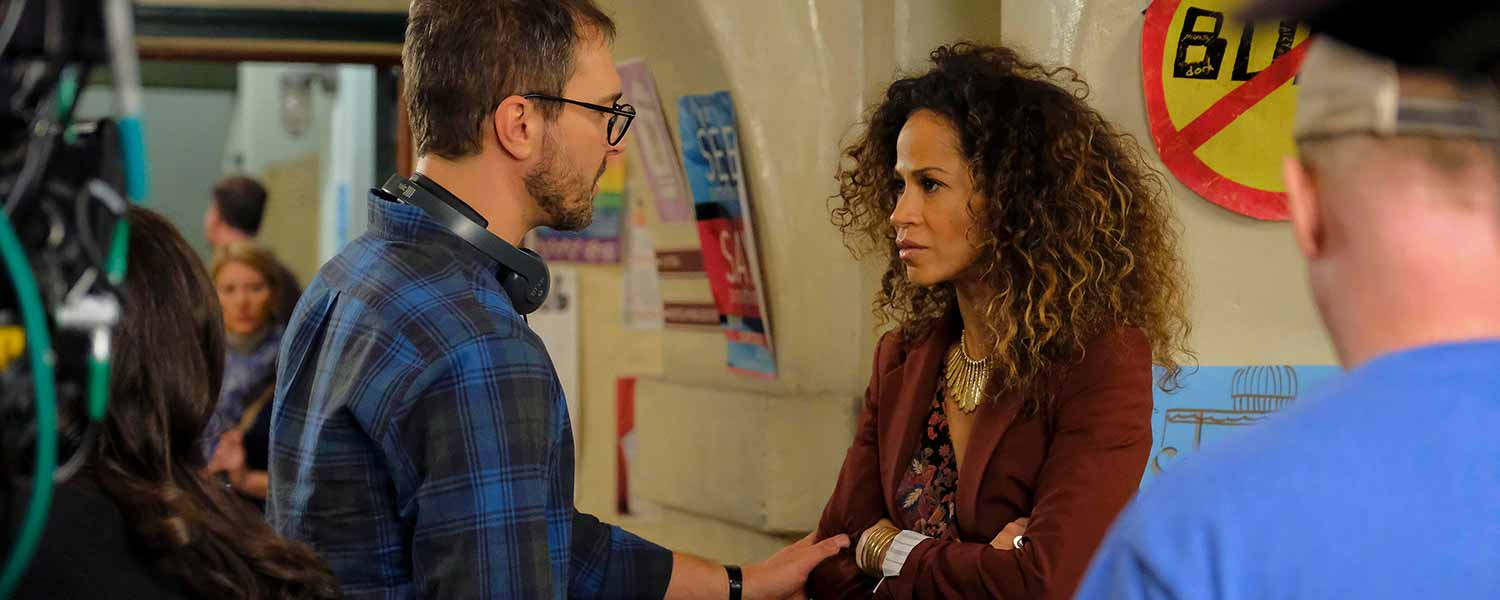 On the set of 'The Fosters': MICHAEL MEDICO (DIRECTOR), SHERRI SAUM; Photo by Freeform/Tony Rivetti © 2016 Disney Enterprises, Inc. All rights reserved.